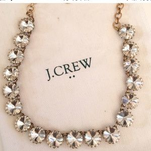 "J. Crew ""Brass-Plated Crystal"" Necklace in Crystal"